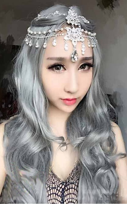 H032 Womens Fashion Princess Gray Long Wave Curly Cosplay Wig
