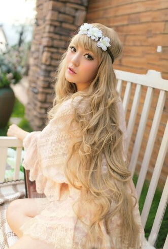 H035 Womens Fashion Princess Light Golden Long Wave Curly Cosplay Wig