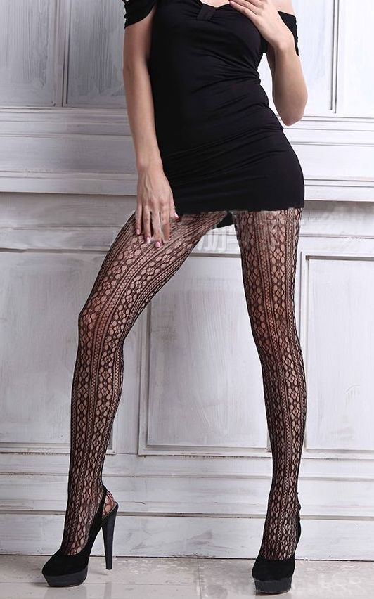 F8180 Black Diamond Stripe V Pantyhose Stockings