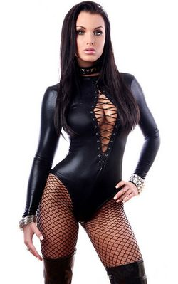 F9077 New Ladies Black Wet Look Long Sleeve Lace Up Teddy Bodysuit Lingerie