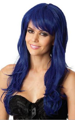 H037 Galactic Girl Blue Costume Wig