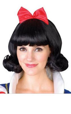 H044 Cosplay Anime Snow White Wigs, Black Short Hair For Games