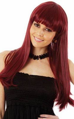 H046-2 Glamour Girl Long Burgundy Costume Wig