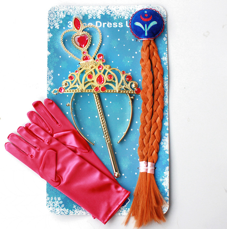 H047-1 4Pcs Anna Princess Crown Hair Piece Wand Gloves Wigs Party Cosplay