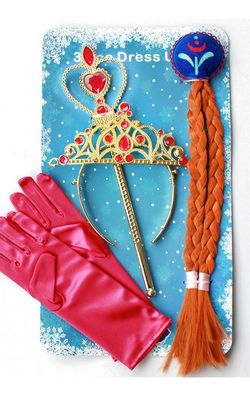 H047-1 Anna Princess Crown Hair Piece Wand Gloves Wigs Party Cosplay
