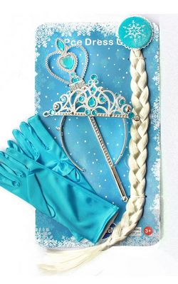 H047-2 4Pcs  Elsa Princess Crown Hair Piece Wand Gloves Wigs Party Cosplay