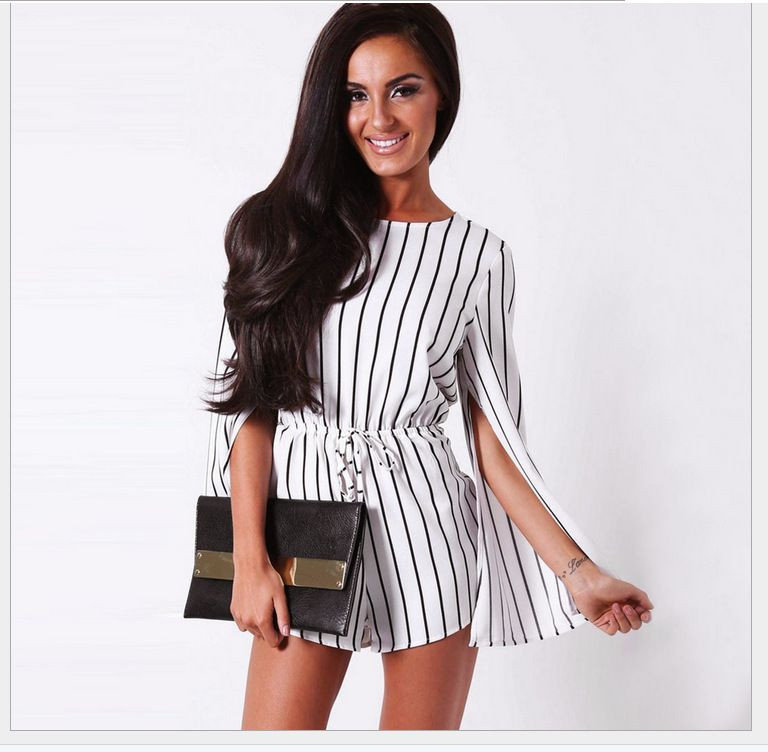 F2460 Black White Stripe Slit Design Long Sleeve Romper