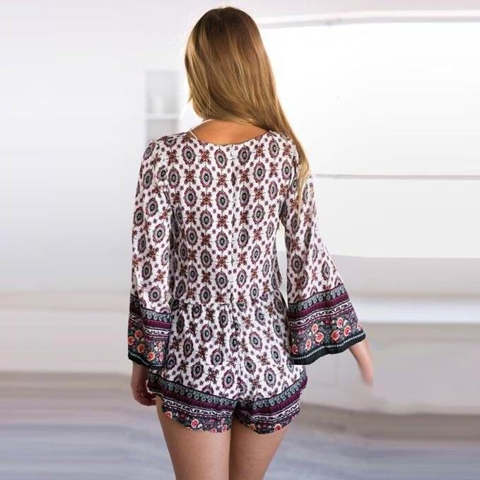 F2461 Ethnic Womens Plunging Neck Tribe Print Long Sleeve Romper