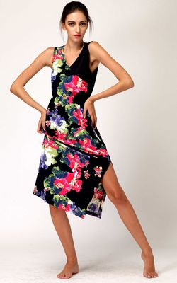 F2462new product summer dress with elastic waist medium-long dress