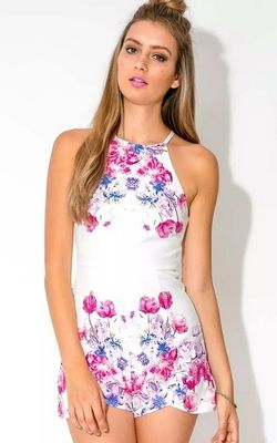 F2463Floral Printing Zipper Womens Rompers
