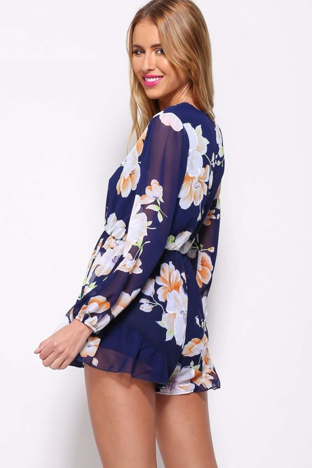 F2466 Summer  Sexy Blue Floral Print Loose Beach Romper Playsuit Jumpsuit Dress