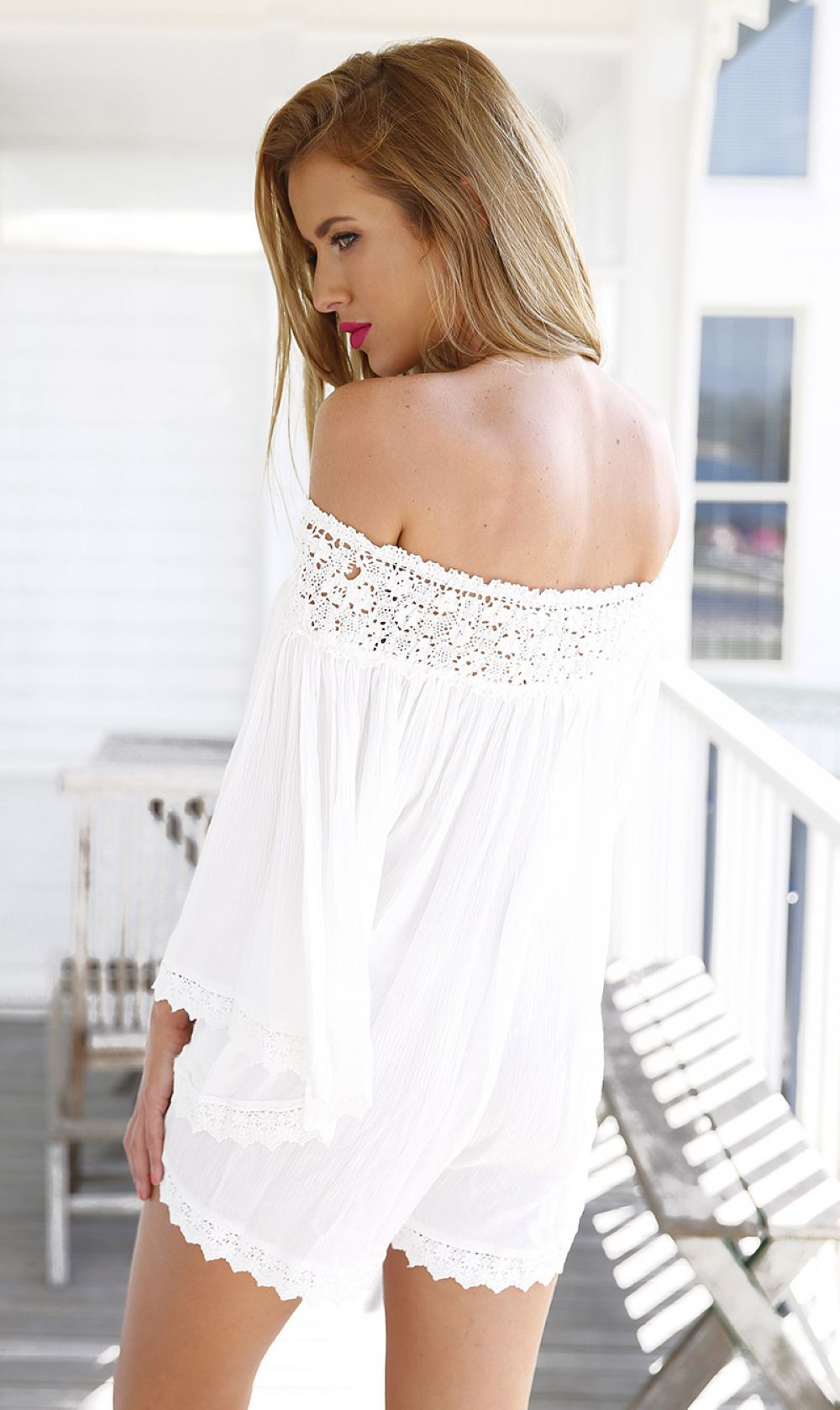 F2467-1 White Off The Shoulder With Lace Hollow Jumpsuit