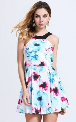 F2469 Beach Floral Mini Dress