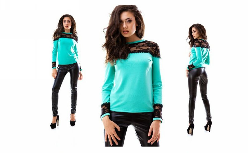 F2472-1 Sweater Fabric-French jersey with guipure lace  T-Shirt
