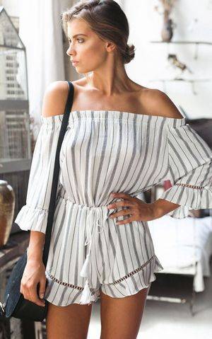 F2479 Ruffled Off-The-Shoulder Tassel-Tie Waist Romper