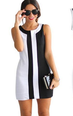 F2483 Black and White Stitching Sleeveless Summer A-line Mini Dress Plus Size