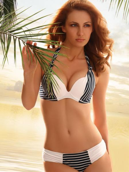 F4543 Striped Splicing Halter Bikini Set