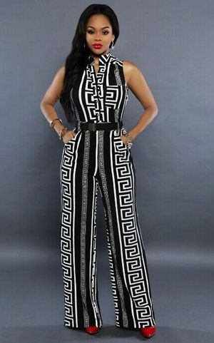 W25007-1 Women Sleeveless Vintage Printed Flare Jumpsuit