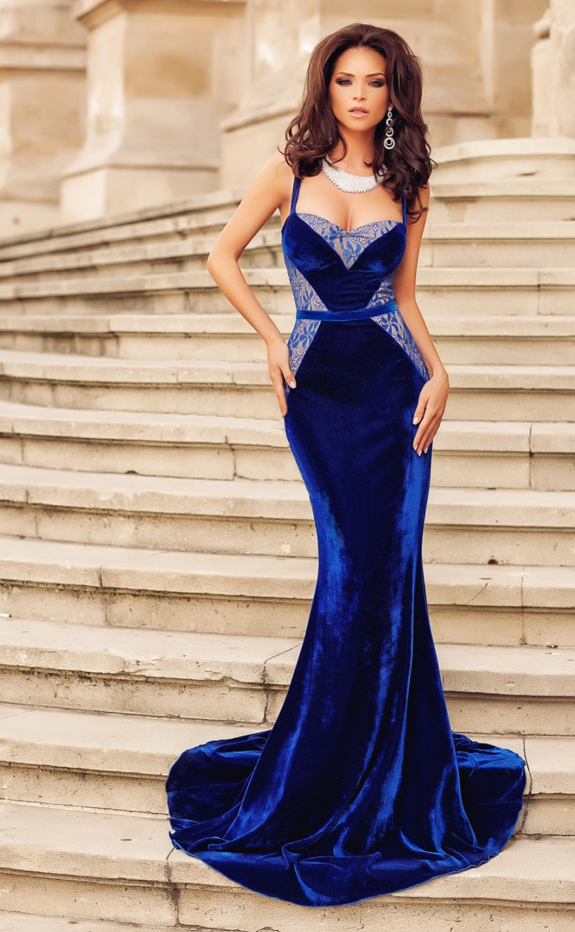 W25018 Evening gown of velvet and lace mermaid blue