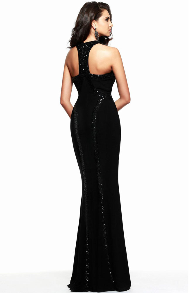 W25022 Long High Neck Formal Gown