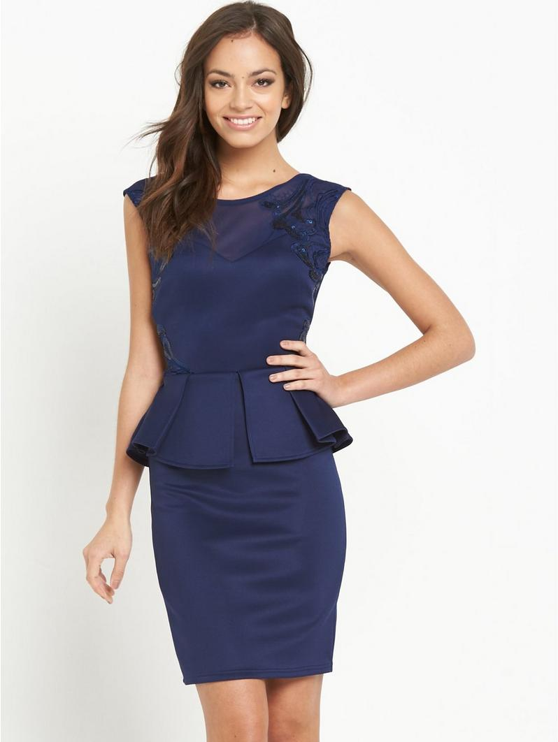 W25027 Sweetheart Peplum Dress