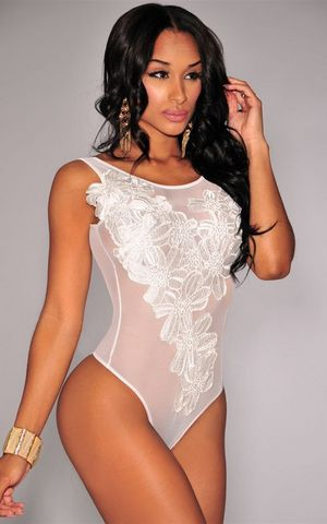 W25030-1 Floral Embroidered Sheer Mesh Bodysuit