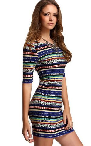 W25033 Multicolor Vintage Print Round Neck Half Sleeve Bodycon Dress