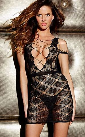 F8183 Twinkling Diamond Deep-V Mini Chemise Dress
