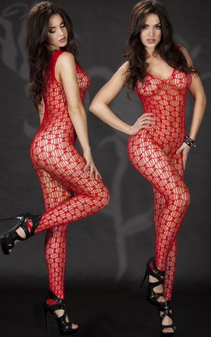 F8184-2 V-neck Sleeveless Crotchless Netty Red Body Stockings