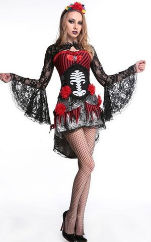 F1655 Deadly Damsel Sugarskull Costume