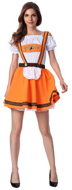 F1665 Orange Beer Girl Sexy Maid Costume