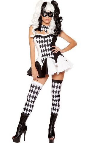 F1669 Deluxe Harlequin Burlesque Black White Checker Halloween Costume