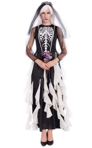 F1680 black and white zombie bride skeleton costume,it comes with headwear,dress
