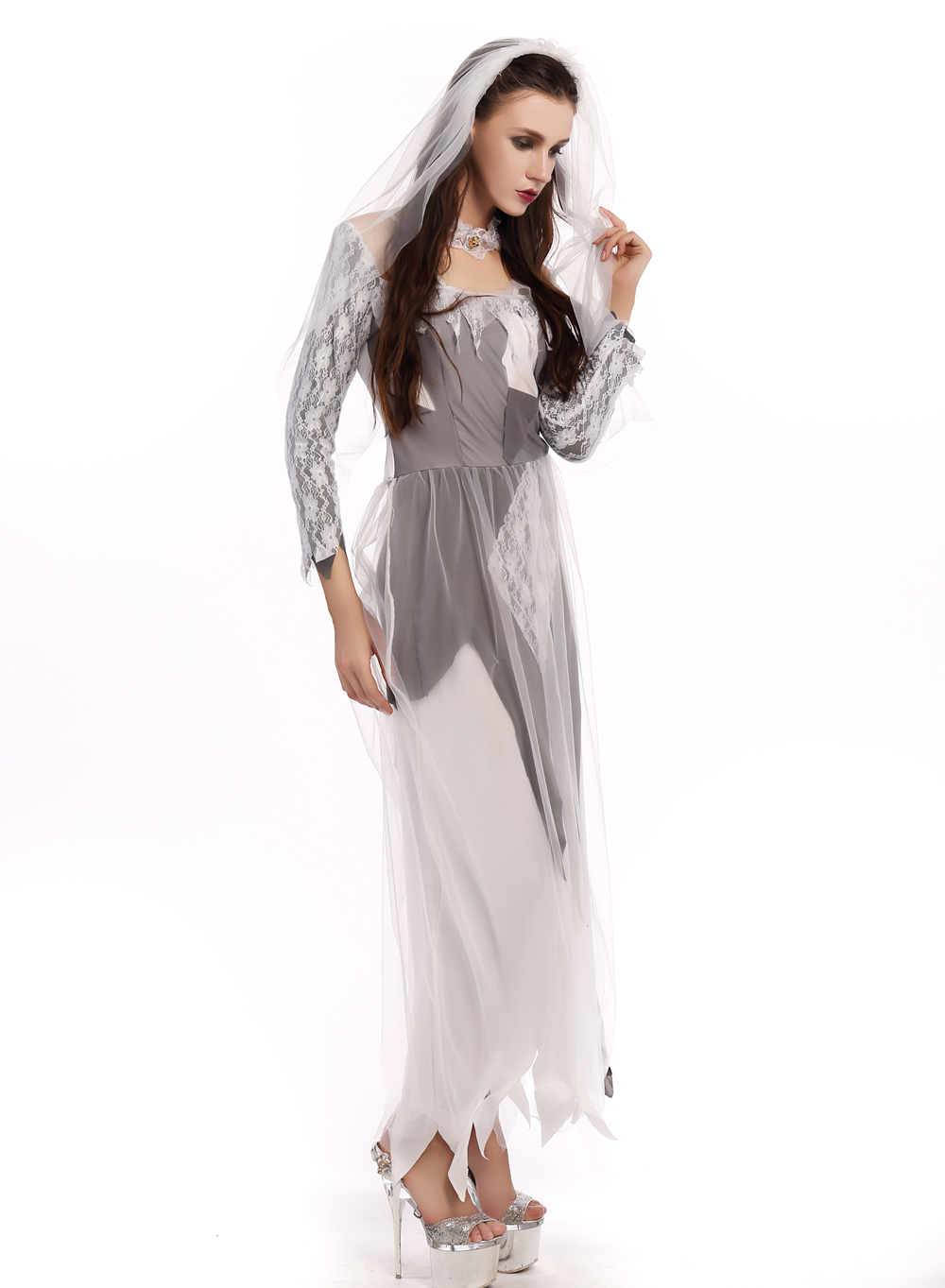 F1681 halloween bride lace dress costume,accessory:headwear, neckwear