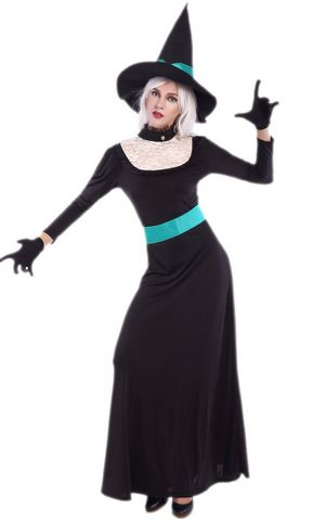 F1682 halloween witch long gown costume,it comes with hat,dress,gloves,belt