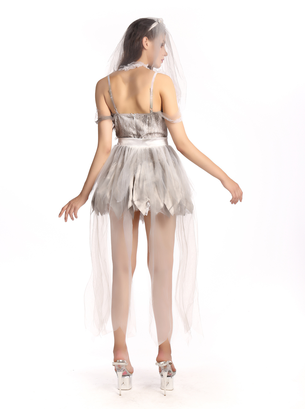 F1686  zombie bride women costume,it comes with headwear,dress,skirt hemline.