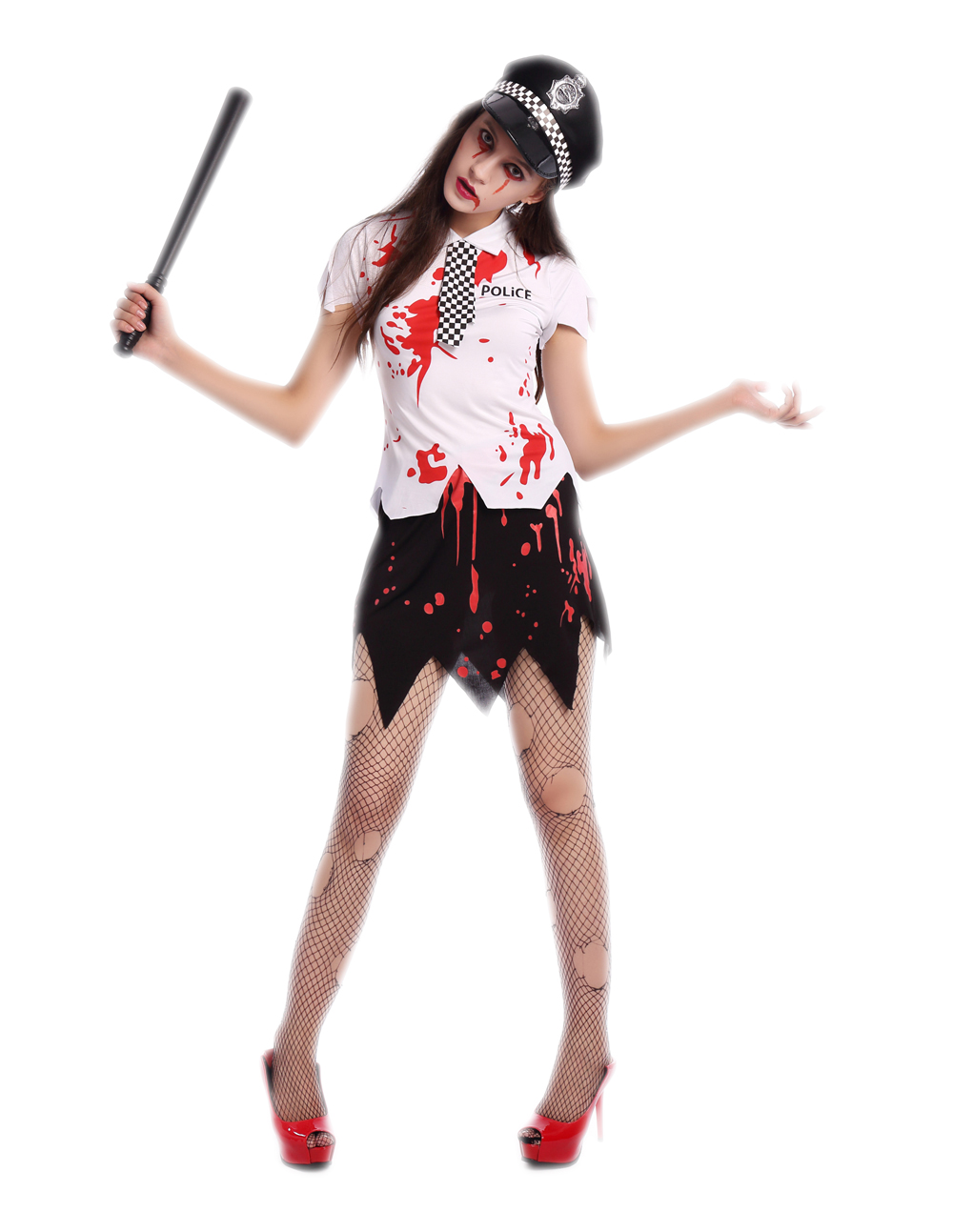 F1689 bloody women zombie police costume,it comes with hat,topwear,skirt