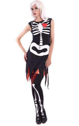 F1691 scary human skeleton cosplay costume