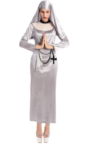 F1694 silver zombie nun costume.it comes with headband,dress,cross