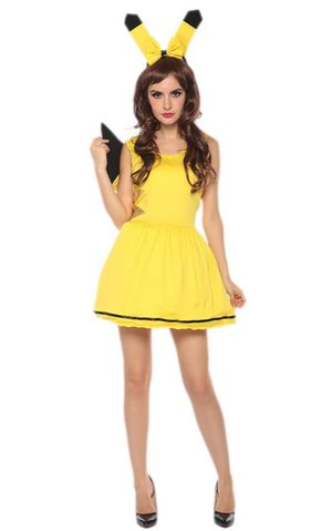 F1703 sexy pikachu dress costume,accessory:headwear