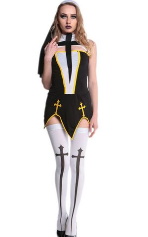 F1706 Womens Irregular Sleeveless Nun Halloween Costume Dress Black