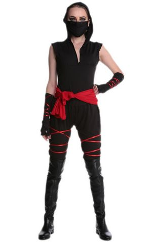 F1708 Sexy Women Warrior Costume   Mouth-Muffle   Top   Pants  Gloves  Belt