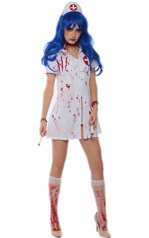 F1711 halloween zombie nurse costume,it comes with headwear,dress