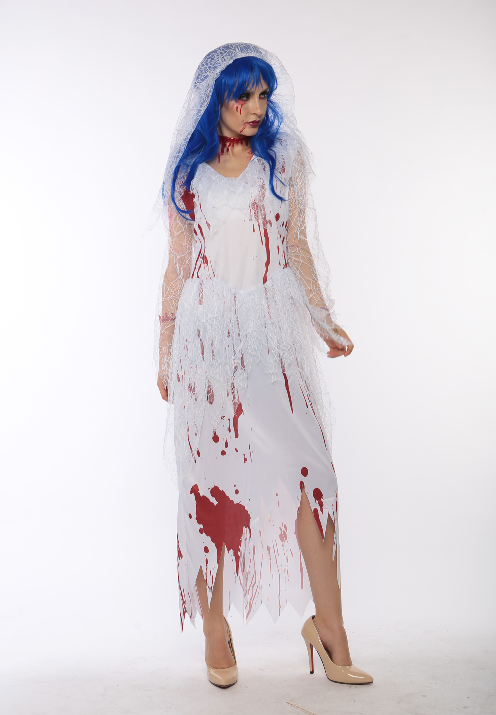 F1713 zombie long white bride costume,it comes with headwear,dress