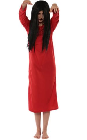 F1717-2 red Japanese scary movie Sadako costume