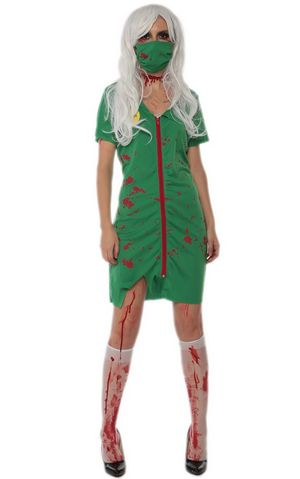 F1720 halloween green zombie costume,it comes with dress,mask