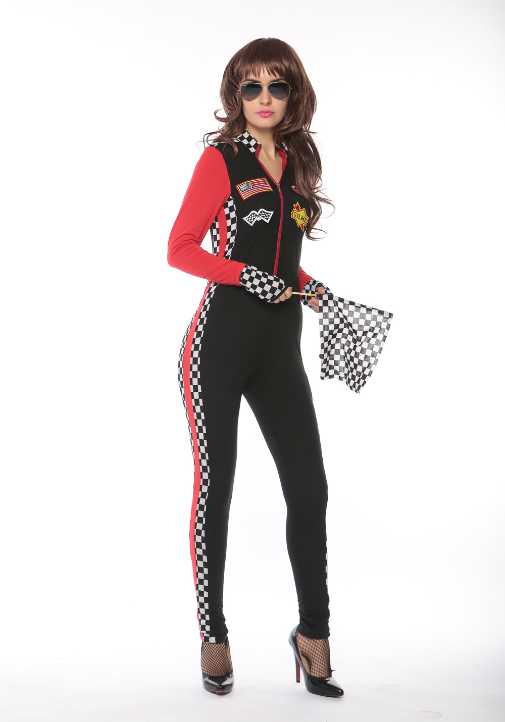 F1722 sexy red race girl jumpsuit,accessory:gloves