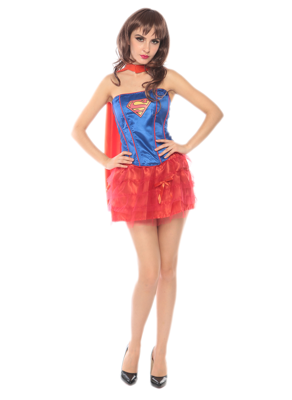 F1725 blue and red tutu superwomen costume,it comes with eyeshade,cape,dress