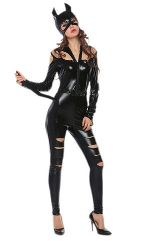F1727 sexy cut off catwomen costume,it comes with hat,bodysuit,belt