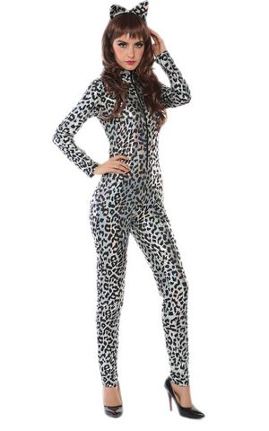 F1728 leopard cat bodysuit costume